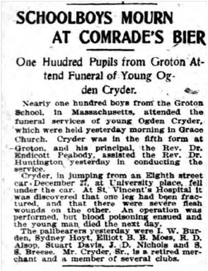 Obituary from the NY Herald, Tuesday, January 7, 1902